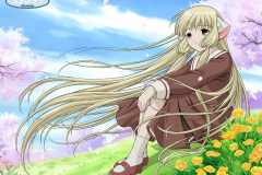 chobits-chi-school-girl-flower-field-wallpaper