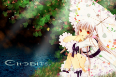 chobits-chi-sexy-dress-umbrella-lake-wallpaper